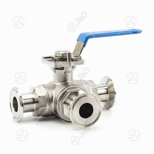 anitary Manual 3 Way Tri Clamp Ball Valve With Mounting Pad