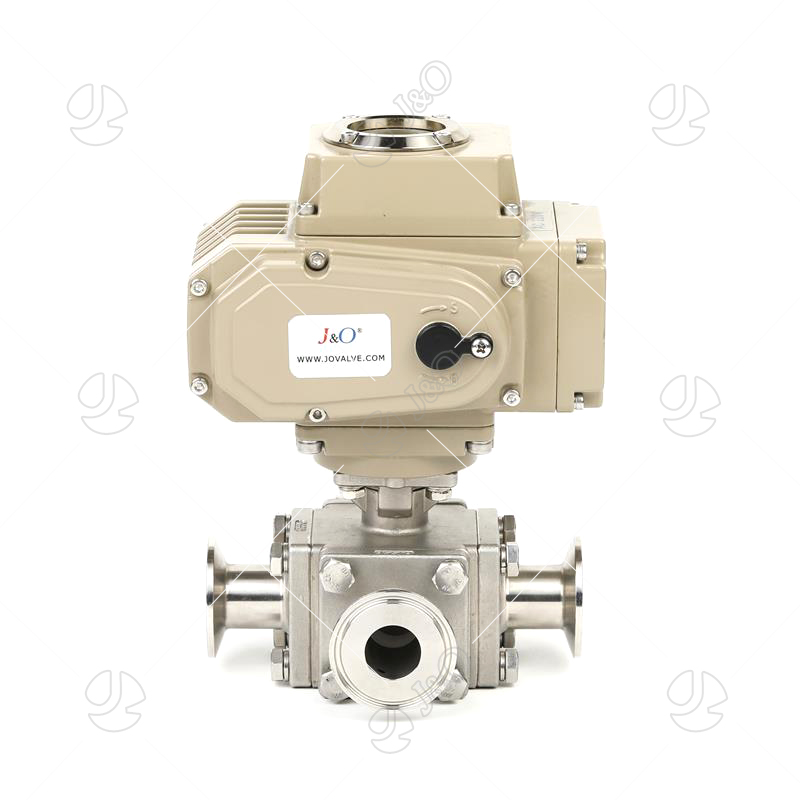 Sanitary Stainless Steel Electric Square Three Way Ball Valve