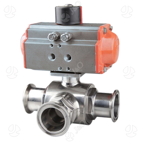 Sanitary Stainless Steel Penumatic Three Way Tri Clamped Clamped Ball Valve With Aluminum Actuator