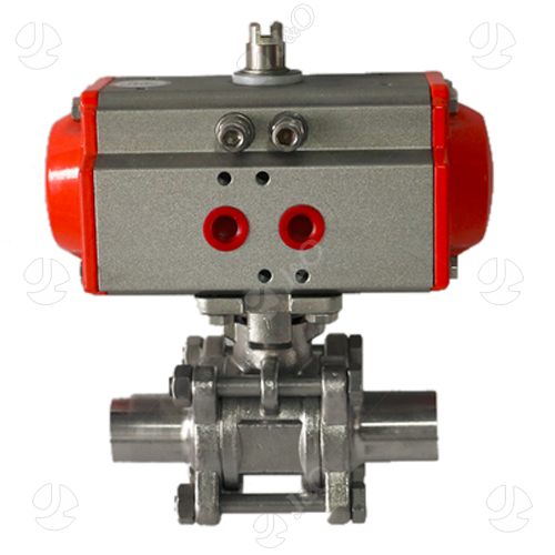 Sanitary Stainless Steel Pneumatic 3PC Three Pieces Butt Weld Welding Ball Valve