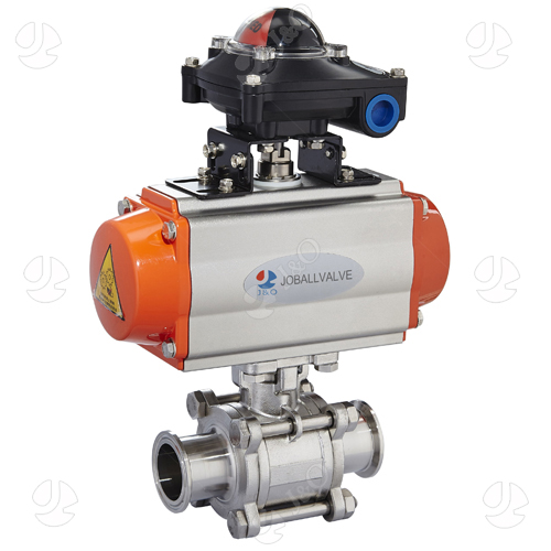 Sanitary Stainless Steel Pneumatic 3PC Three Pieces Tri Clamp Clamped Ball Valve With Position Sensors