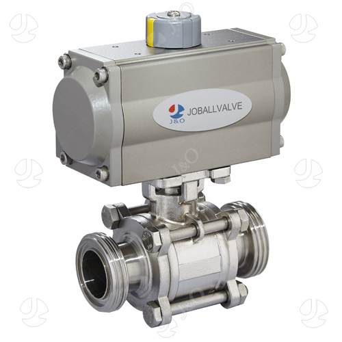 Sanitary Stainless Steel Pneumatic 3PC Three Thread Male Ball Valve