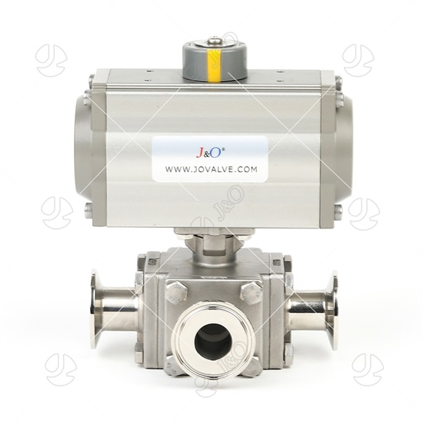 Sanitary Stainless Steel Pneumatic Square Clamped Ball Valve With Aluminum Actuator