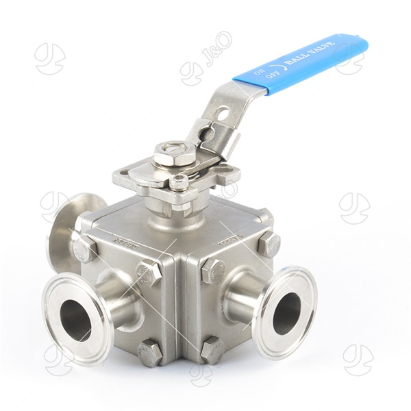 Sanitary Stainless Steel Square Tri Clamp Three Way Ball Valve